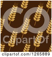 Clipart Of A Seamless Background Pattern Of Wheat On Brown Royalty Free Vector Illustration
