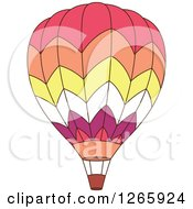Clipart Of A Pink Orange Yellow White And Purple Hot Air Balloon Royalty Free Vector Illustration