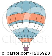 Clipart Of A Blue Orange And White Hot Air Balloon Royalty Free Vector Illustration