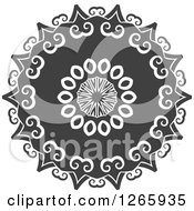 Clipart Of A Grayscale Lace Circle Royalty Free Vector Illustration