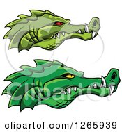 Clipart Of Green Crocodile Faces In Profile Royalty Free Vector Illustration