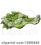 Clipart Of A Red Eyed Green Crocodile Face In Profile Royalty Free Vector Illustration by Vector Tradition SM