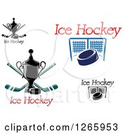 Clipart Of Ice Hockey Designs Royalty Free Vector Illustration