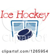 Clipart Of A Blue Hockey Puck And Net Under Text Royalty Free Vector Illustration