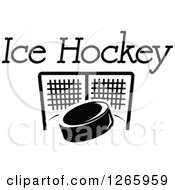 Clipart Of A Black And White Hockey Puck And Net With Text Royalty Free Vector Illustration