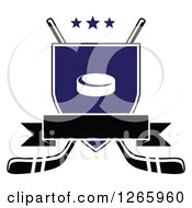 Clipart Of A Blank Banner Over A Shield With A Hockey Puck And Crossed Hockey Sticks Royalty Free Vector Illustration
