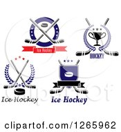 Clipart Of Hockey Designs Royalty Free Vector Illustration