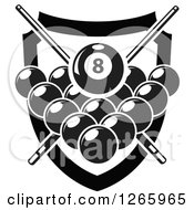 Clipart Of A Black And White Billiards Pool Eight Ball And Crossed Cue Sticks Over Other Balls And A Shield Royalty Free Vector Illustration