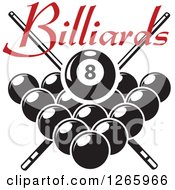Clipart Of A Red Billiards Text Over A Black And White Pool Eight Ball And Crossed Cue Sticks Over Other Balls Royalty Free Vector Illustration
