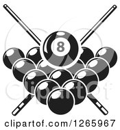 Clipart Of A Black And White Billiards Pool Eight Ball And Crossed Cue Sticks Over Other Balls Royalty Free Vector Illustration