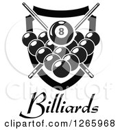 Clipart Of A Black And White Billiards Pool Eight Ball And Crossed Cue Sticks Over Other Balls Text And A Shield Royalty Free Vector Illustration