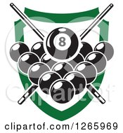 Billiards Pool Eight Ball And Crossed Cue Sticks Over Other Balls And A Green Shield