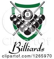 Clipart Of A Billiards Pool Eight Ball And Crossed Cue Sticks Over Other Balls Text And A Green Shield Royalty Free Vector Illustration