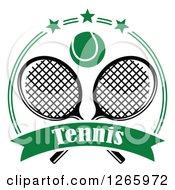 Clipart Of A Tennis Ball Over Crossed Rackets In A Green Circle With Stars And A Text Banner Royalty Free Vector Illustration