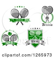 Clipart Of Tennis Designs In Black White And Green Royalty Free Vector Illustration