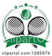 Clipart Of A Tennis Ball Over Crossed Rackets In A Green Circle With Stars And A Blank Banner Royalty Free Vector Illustration