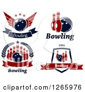 Poster, Art Print Of Red And Blue Bowling Designs
