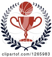 Clipart Of A Basketball Over A Trophy In A Laurel Wreath Royalty Free Vector Illustration