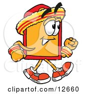 Clipart Picture Of A Price Tag Mascot Cartoon Character Speed Walking Or Jogging by Toons4Biz