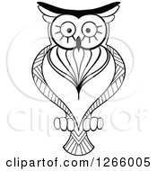 Clipart Of A Black And White Owl Royalty Free Vector Illustration