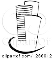 Clipart Of Black And White Skyscraper Buildings Royalty Free Vector Illustration