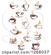Clipart Of Steamy Brown Coffee Cups Royalty Free Vector Illustration