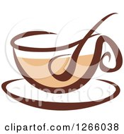Clipart Of A Brown Coffee Cup Royalty Free Vector Illustration