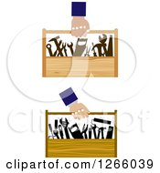 Poster, Art Print Of Hands Carrying Tool Boxes