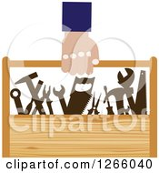 Poster, Art Print Of Handy Man Carrying A Wood Tool Box