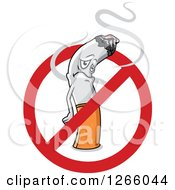 Clipart Of A Sad Cigarette Inside A Restricted Symbol Royalty Free Vector Illustration by Vector Tradition SM