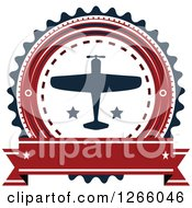 Clipart Of A Red Blue And White Airplane Logo With A Blank Banner Royalty Free Vector Illustration