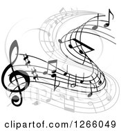 Clipart Of A Grayscale Flowing Music Note Design Royalty Free Vector Illustration