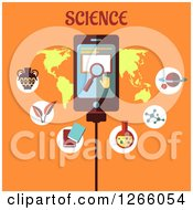 Clipart Of A Tablet With Search Icons Over A Map With Science Text On Orange Royalty Free Vector Illustration
