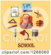 Clipart Of School Supplies And Text On Yellow Royalty Free Vector Illustration by Vector Tradition SM