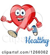Clipart Of A Happy Heart Character Running Over Healthy Text Royalty Free Vector Illustration