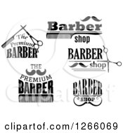 Clipart Of Black And White Barber Shop Designs Royalty Free Vector Illustration