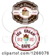 Clipart Of Ice Cream Sundae And Cake Labels Royalty Free Vector Illustration by Vector Tradition SM