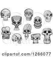 Clipart Of Monster Skulls Royalty Free Vector Illustration