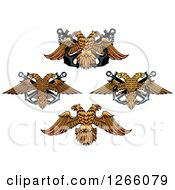 Clipart Of Double Headed Eagles With Anchors Royalty Free Vector Illustration