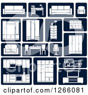Clipart Of White And Navy Blue Furniture Icons Royalty Free Vector Illustration
