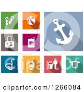 Clipart Of White Travel Icons On Colorful Tiles Royalty Free Vector Illustration