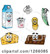 Clipart Of Milk Carton Yogurt Mushroom Peanut Pea Chocolate And Cheese Characters Royalty Free Vector Illustration