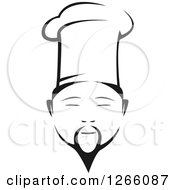 Clipart Of A Black And White Male Asian Chef Face Royalty Free Vector Illustration