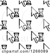 Clipart Of A Seamless Background Pattern Of Cursors And Hourglasses Royalty Free Vector Illustration by Vector Tradition SM