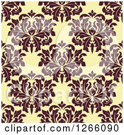 Clipart Of A Seamless Pattern Background Of Vintage Brown Floral Damask On Yellow Royalty Free Vector Illustration