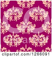 Clipart Of A Seamless Pattern Background Of Vintage Pink Floral Damask Royalty Free Vector Illustration