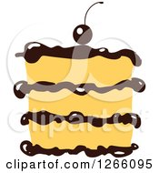 Clipart Of A Layered Cake With Chocolate Royalty Free Vector Illustration by Vector Tradition SM