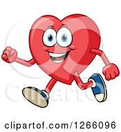 Clipart Of A Happy Heart Character Running Royalty Free Vector Illustration