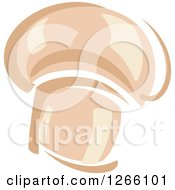 Clipart Of A Button Mushroom Royalty Free Vector Illustration