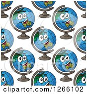 Seamless Background Pattern Of Happy Desk Globes